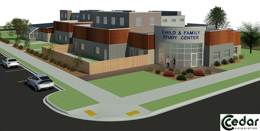 The proposed new Child and Family Study Center at UW-Stout would replace the existing facility at 811 6th St. E.