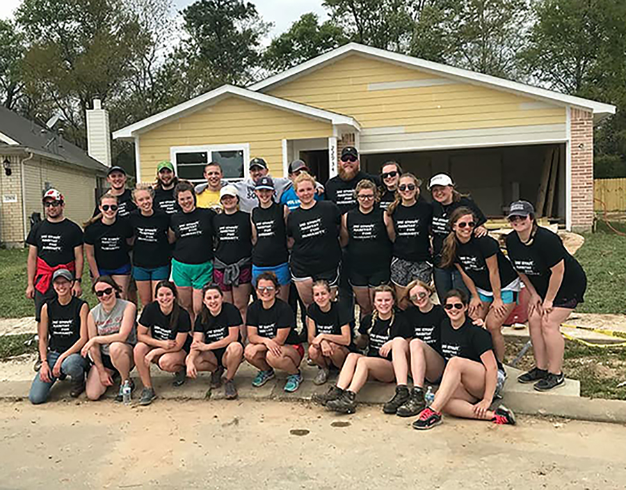 Students from UW-Stout's chapter of Habitat for Humanity volunteer in 2018 in Houston, Texas, during spring break.