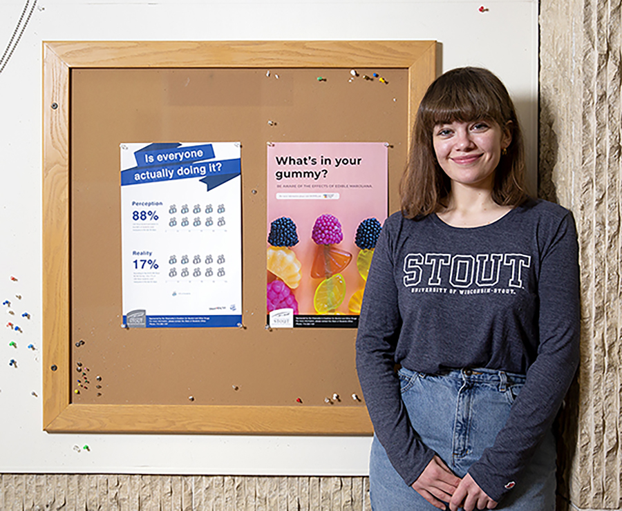 Abbi Schlueter, a junior graphic design major, has created a series of eight posters on the impacts of marijuana use. She is a student designer in the UW-Stout Counseling Center.