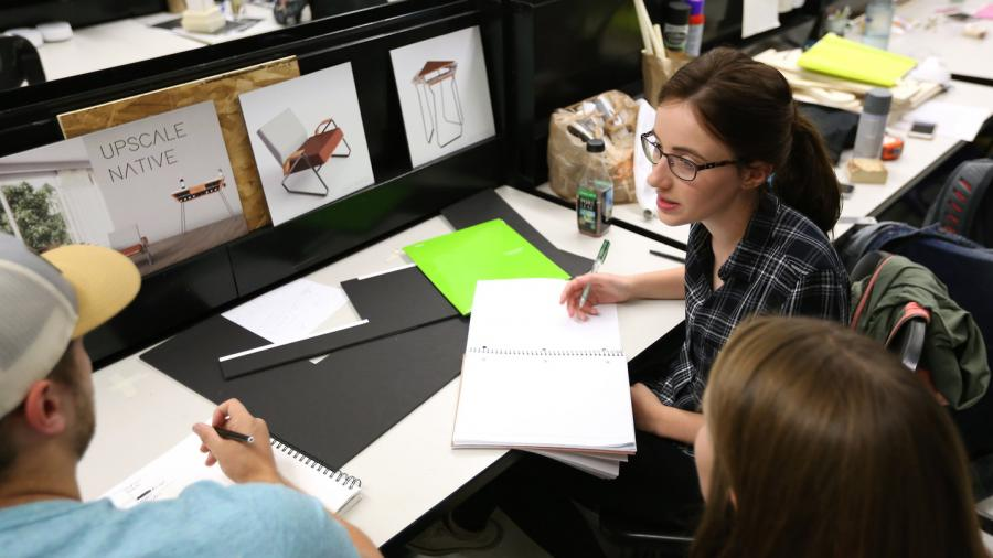Students of Associate Professor Jennifer Astwood during a Senior Industrial Design lab workday