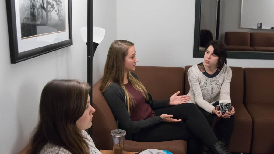 UW-Stout graduate students in the Clinical Mental Health Counseling Program, discuss their counseling sessions during Counseling Process Lab