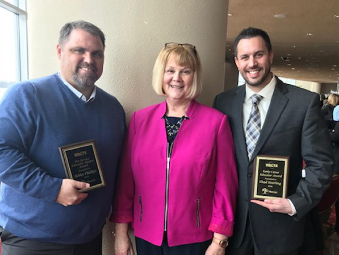 From left, Bobby Phillips, UW-Stout Associate Dean Carol Johnson and Chad Siverling at the WACTE awards reception in Madison.