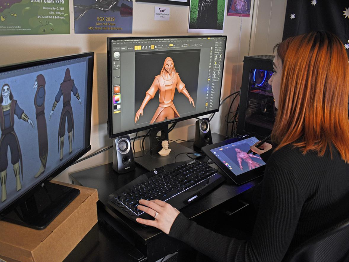UW- Stout student Megan Southwick works on her team project Pestilence, an action/thriller game, that will available at Stout Game Expo 2020.