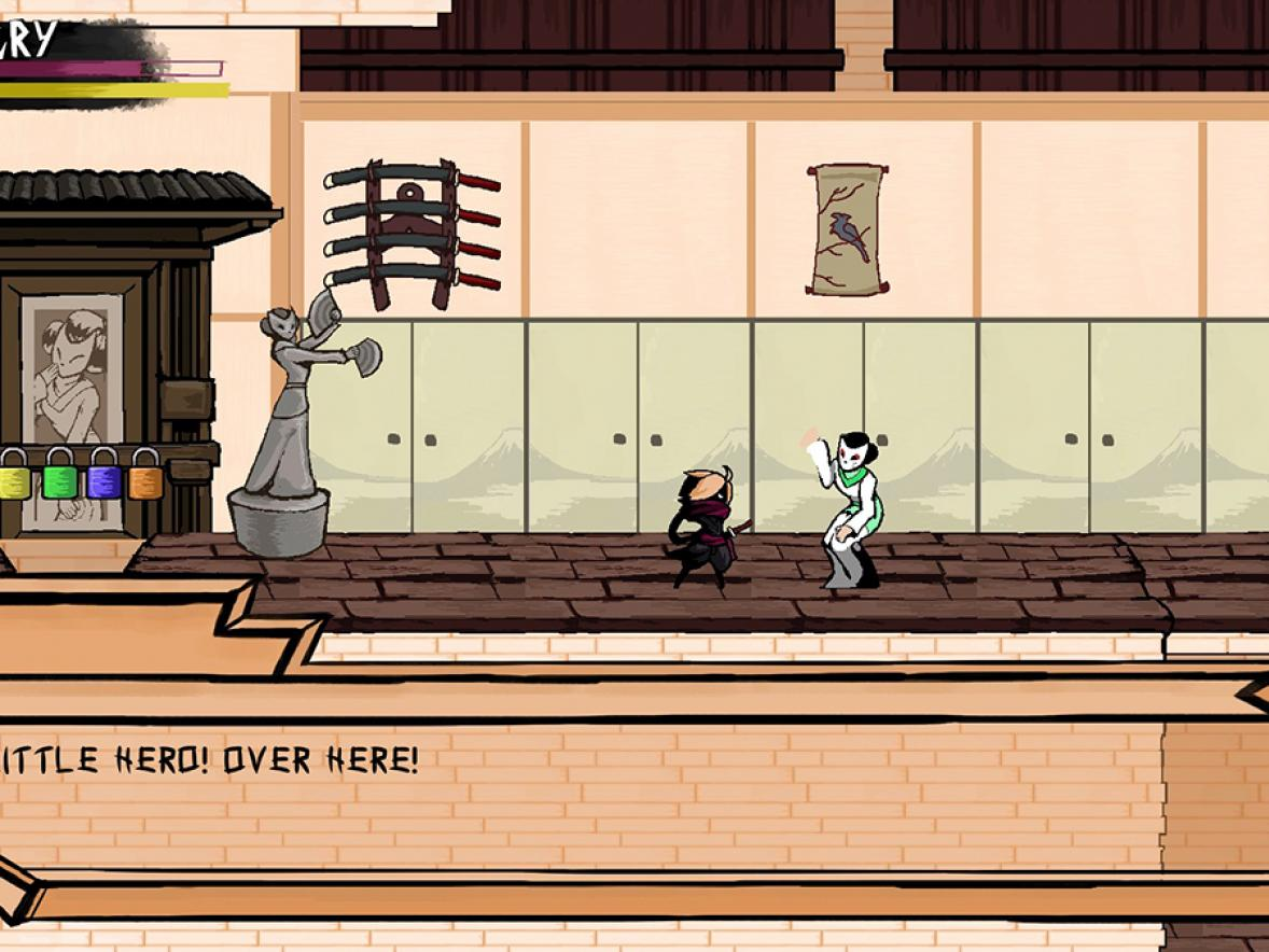 A screenshot from Ninja Scarf, a PC game that will be released on Steam Friday, June 5. Justin Bryant, a recent UW-Stout graduate, and senior Katelyn Zenz will be competing in the WiSys' Wisconsin Big Idea Tournament with their business that developed the game, 20 Credit Studio.