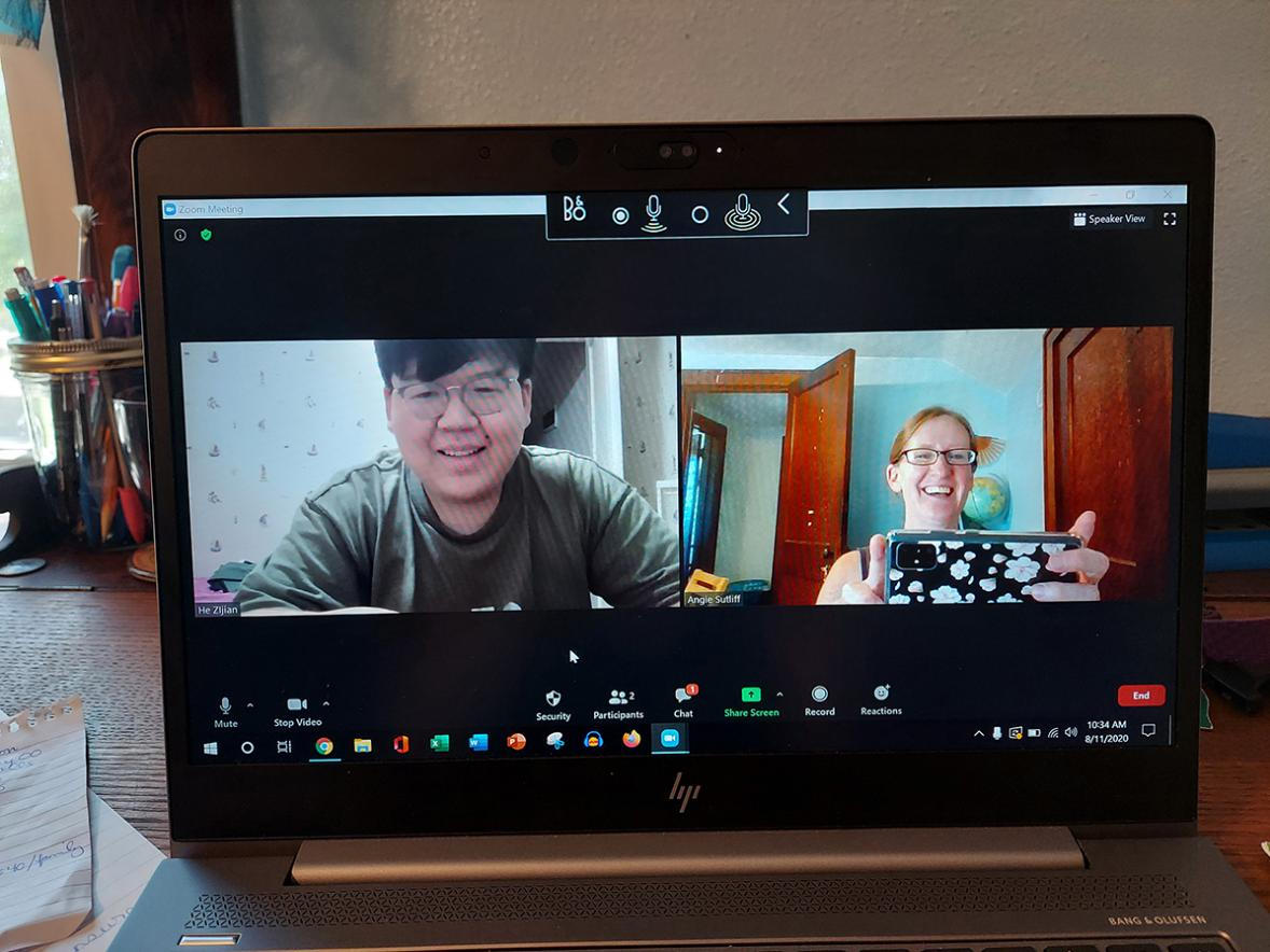 Angie Sutliff, at right, talks with Summer in the Midwest student Zijian He over a video chat. Students from China and South Korea were still able to attend the UW-Stout cultural exchange virtually to improve their oral communications and learn about American culture and meet residents.