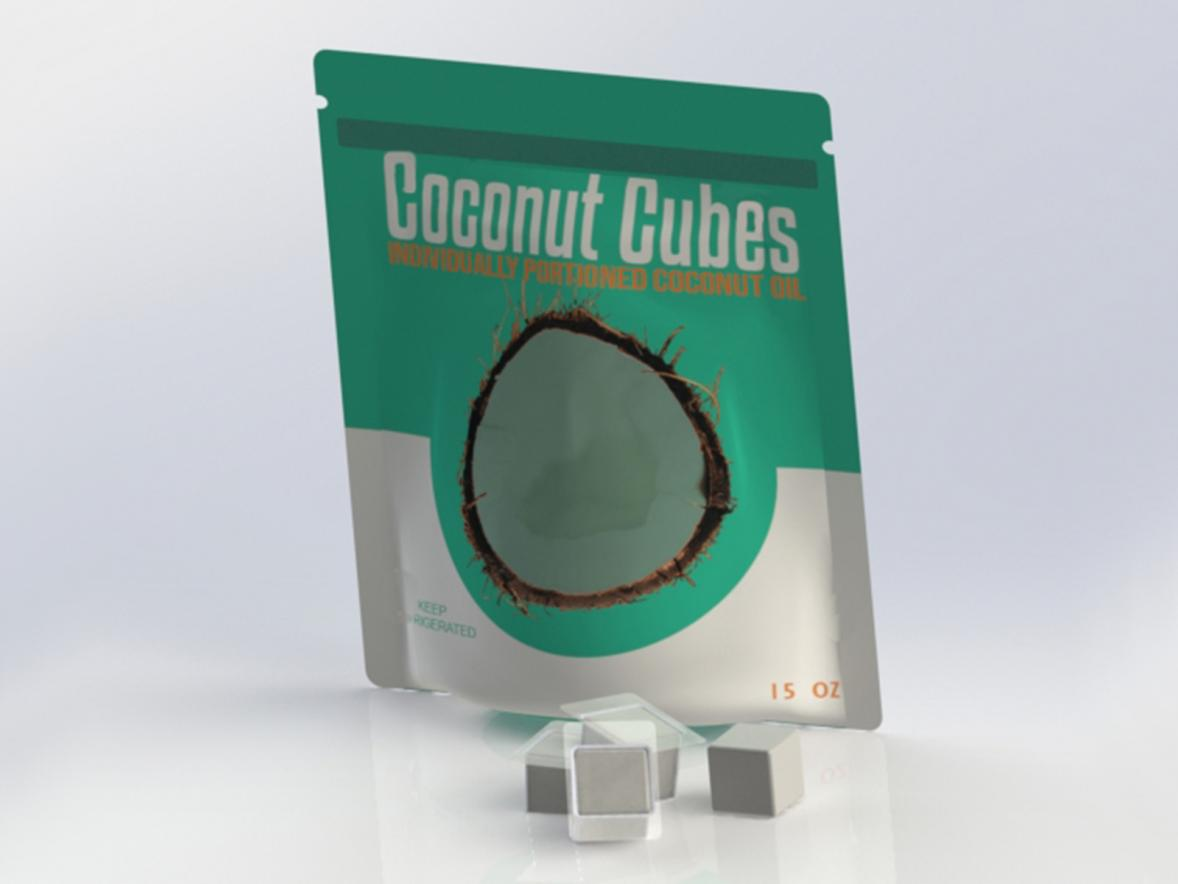 Coconut Cubes, award-winning packaging product designed by UW-Stout graduates.