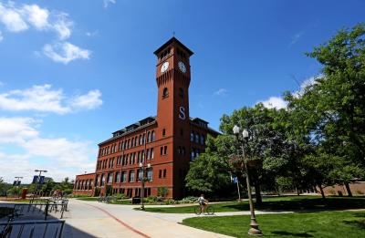 Bowman Hall (the clocktower) on a sunny day.
