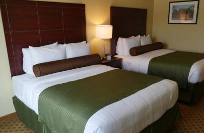 Clean rooms, tidy bedding, and amenities are available at local hotels.